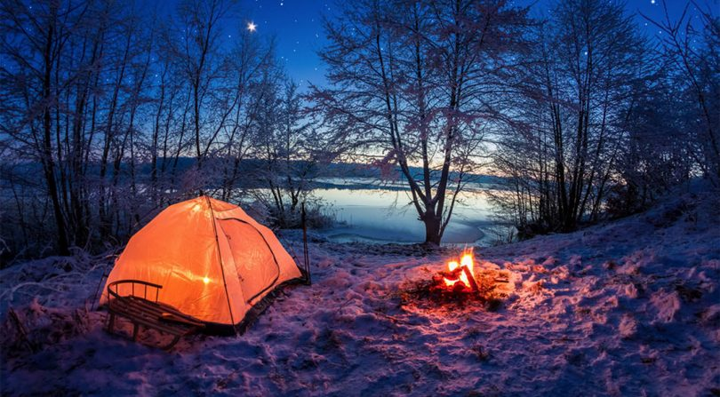 winter camping tent fire