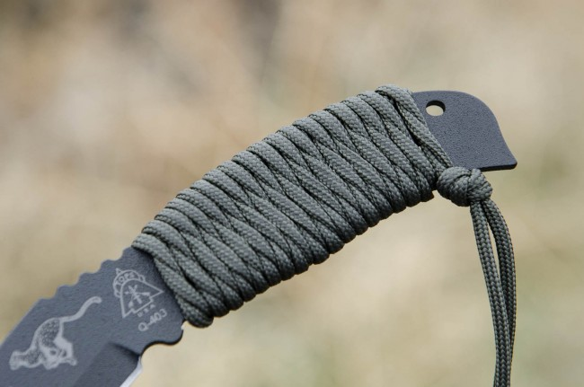 Boot knife with wrapped handle