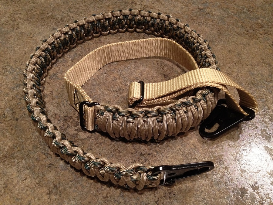 Paracord sling made from the store-bought rifle sling
