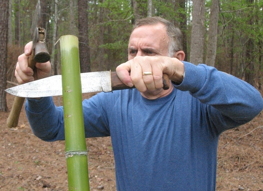 Splitting bamboo for bow