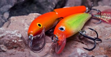 fish lures on rock