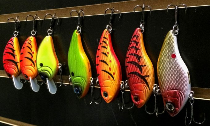 fishing lures in different colors
