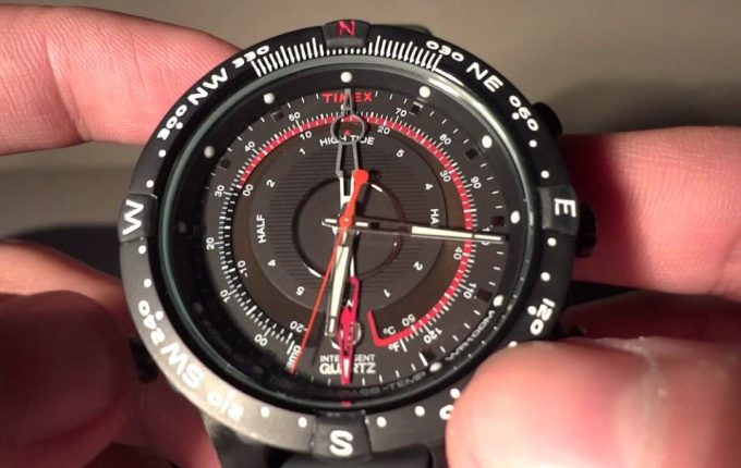 quartz compass watch in hand