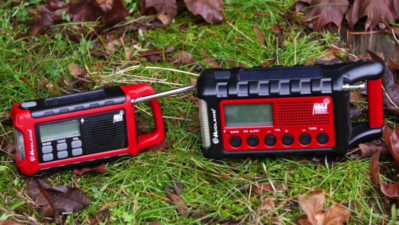 two emergency radios on the ground