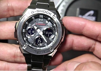 Casio G-Shock G-Steel Smoke Dial SS Resin Chrono Quartz Men's Watch