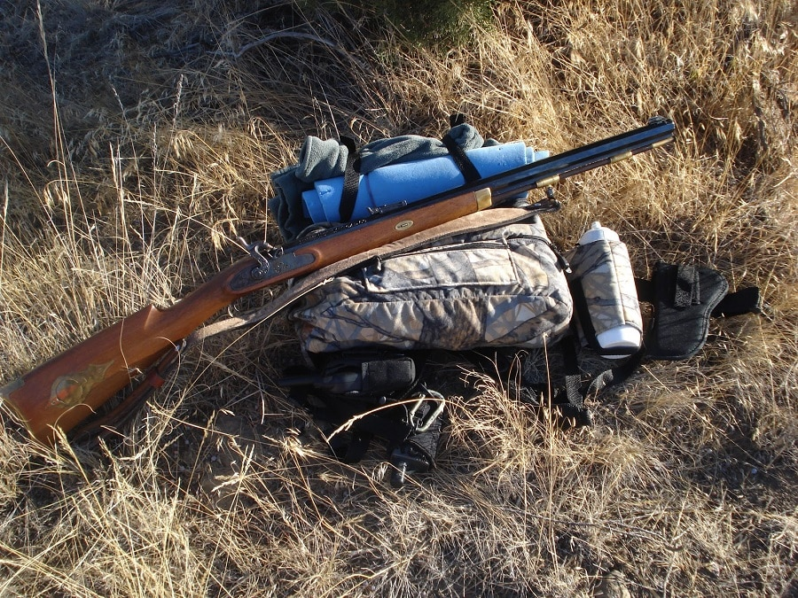 Hunters gear on the ground