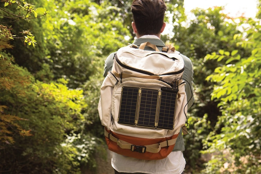 Solar charger on a backpack