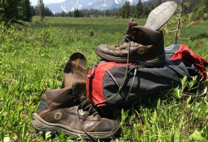 backpacking boots on grass