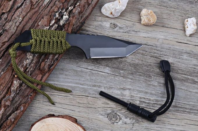camping knife with fire starter