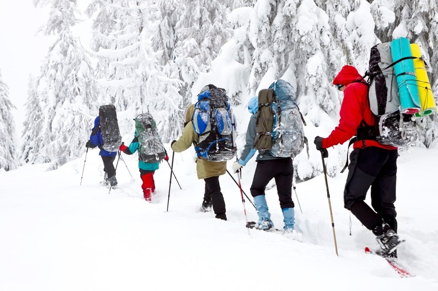 Outdoor winter backpacking