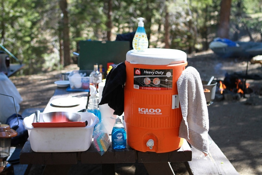 Camping cookware cleaning