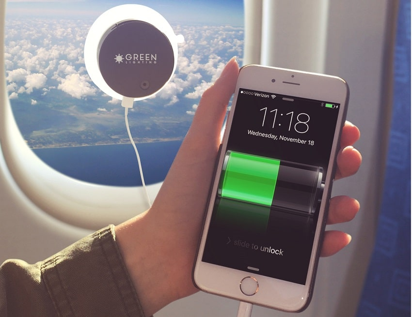 Solar charger charging the phone