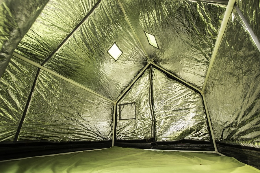 Survival blanket as tent insulator