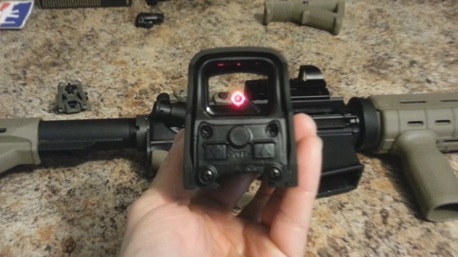 Testing the red dot sight