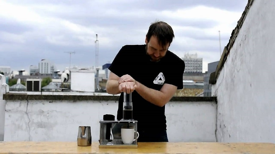 Aeropress coffee maker in action