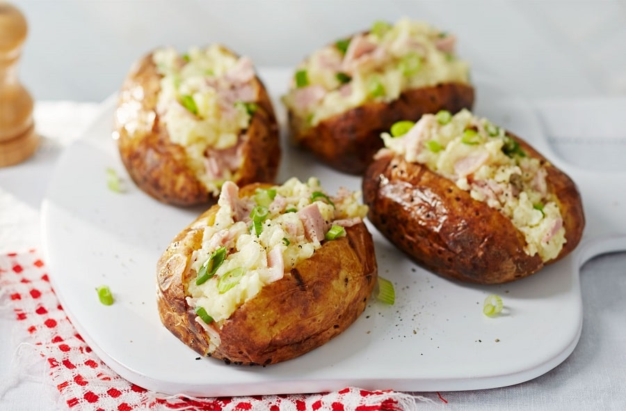 Camping Baked and stuffed potatoes