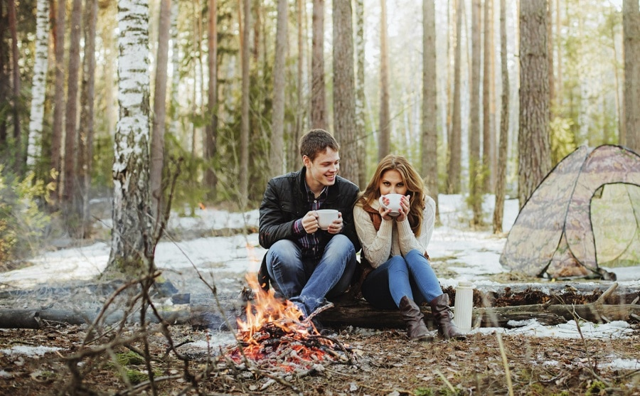 Camping fire outdoor