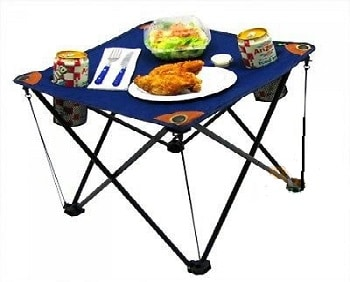 Folding Camping Table Folding Table with Drink Holders and Carry Bag by EZ Travel Collection
