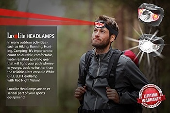 Luxolite LED Headlamp Flashlight With Red Light