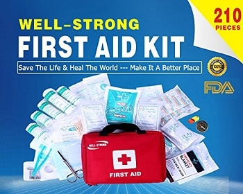 Well-Strong First Aid Kit 210 Pieces with Durable and Compact Canvas Bag