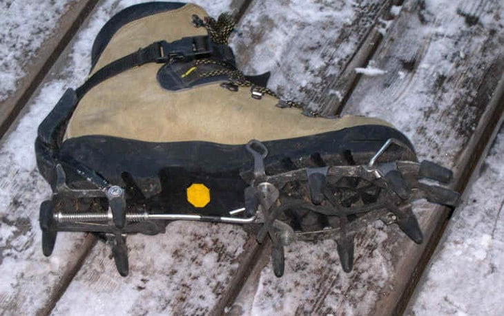 Crampons on boots