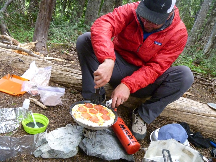 Pizza made outdoors