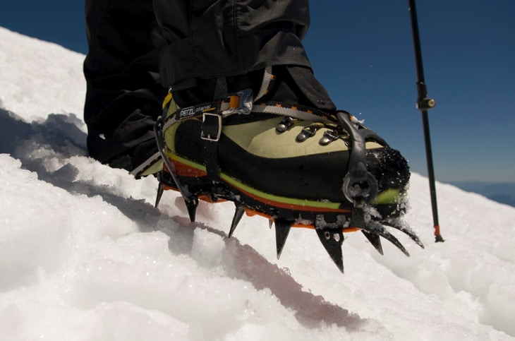 Using crampons to hike