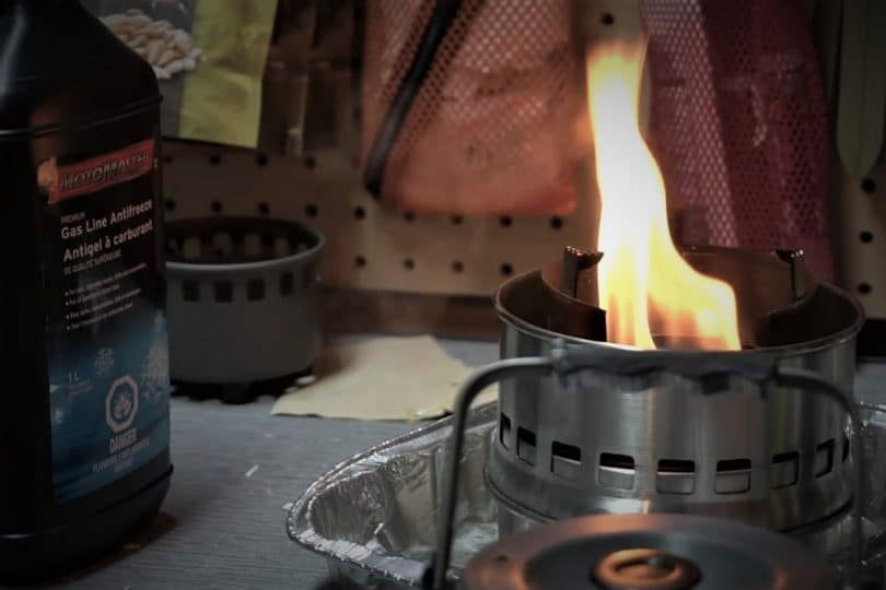 alcohol stove with big orange flame