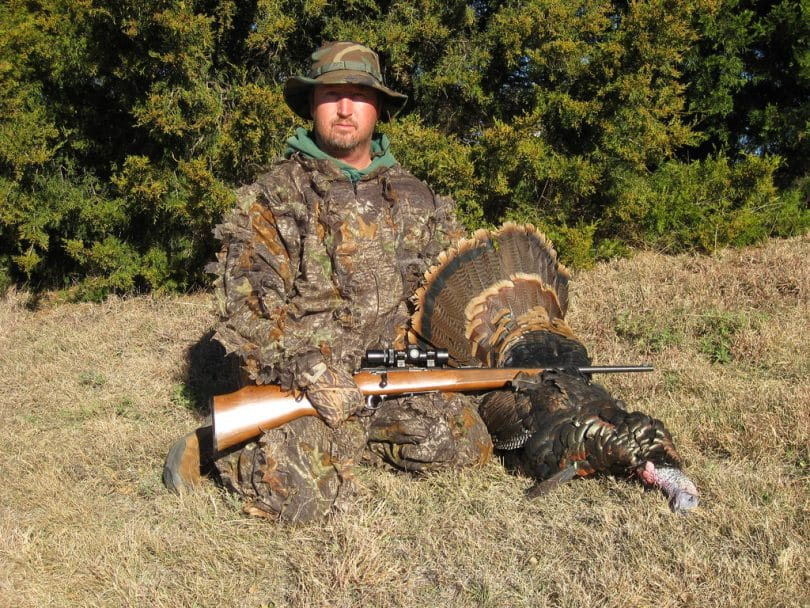 Turkey hunter camouflaged