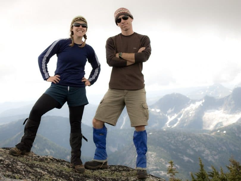Couple wearing gaiters