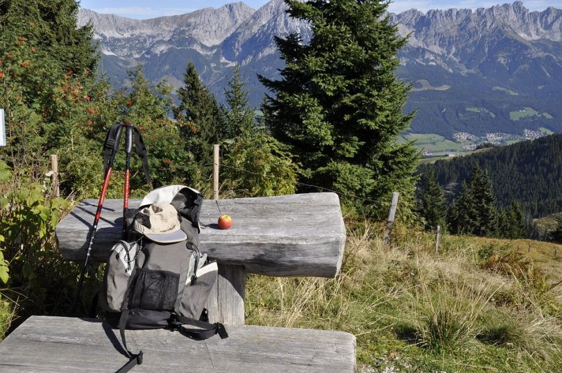 Backpack on a bench