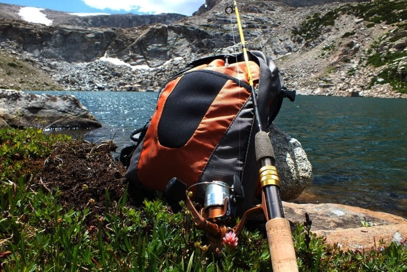 Fishing backpack and fly rod