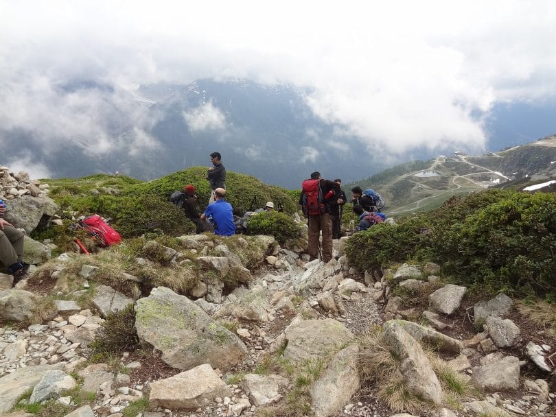 Group of hikers on a rocky mountain