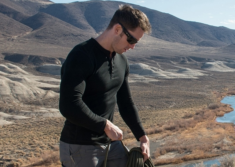 Hiker in merino wool shirt