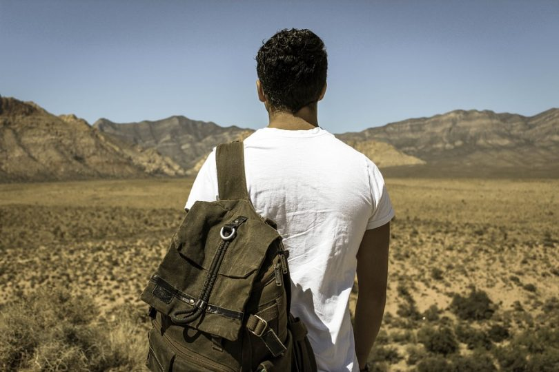 Hiking man with backpack in nature