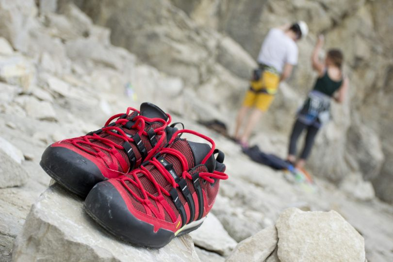 Pair of approach hiking shoes