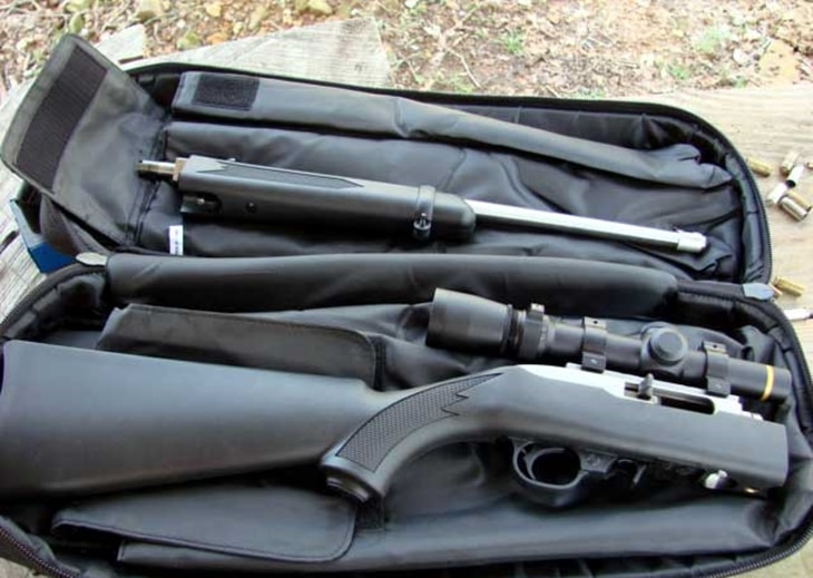 Parts of rifles in a bag