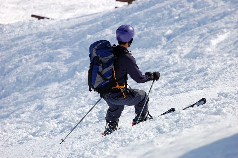 The skier with a backpack