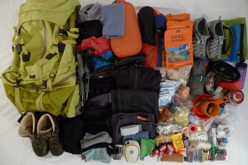 hiking backpack and its contents