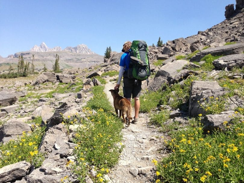 Man and his dog on a trail