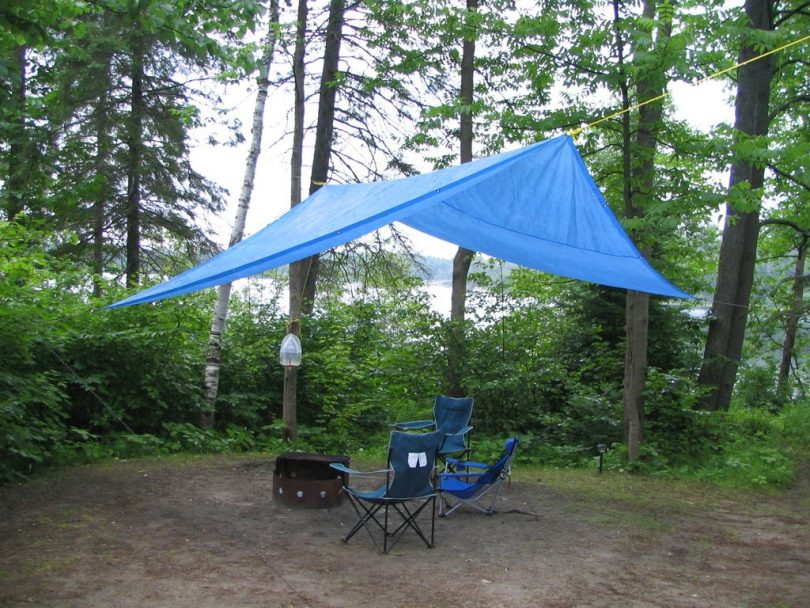 Blue tarp in the forest