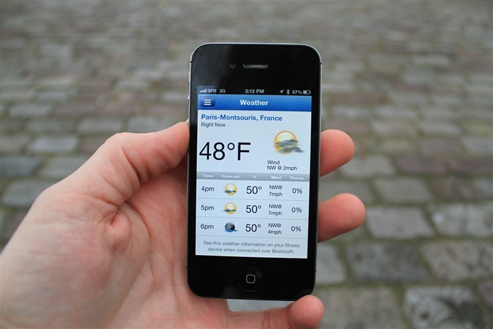 Checking weather forecast on phone