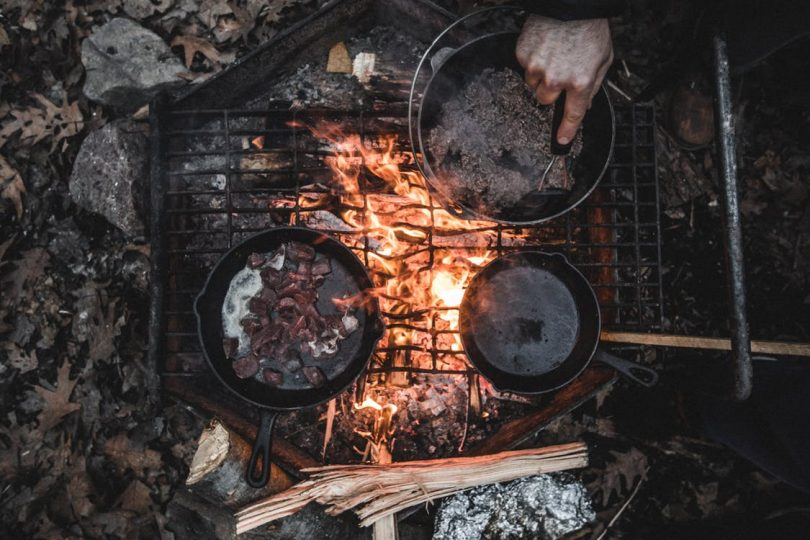 Cooking on a fire in the forest