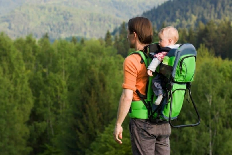 Dad hiking with baby