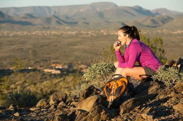 Eat while hiking