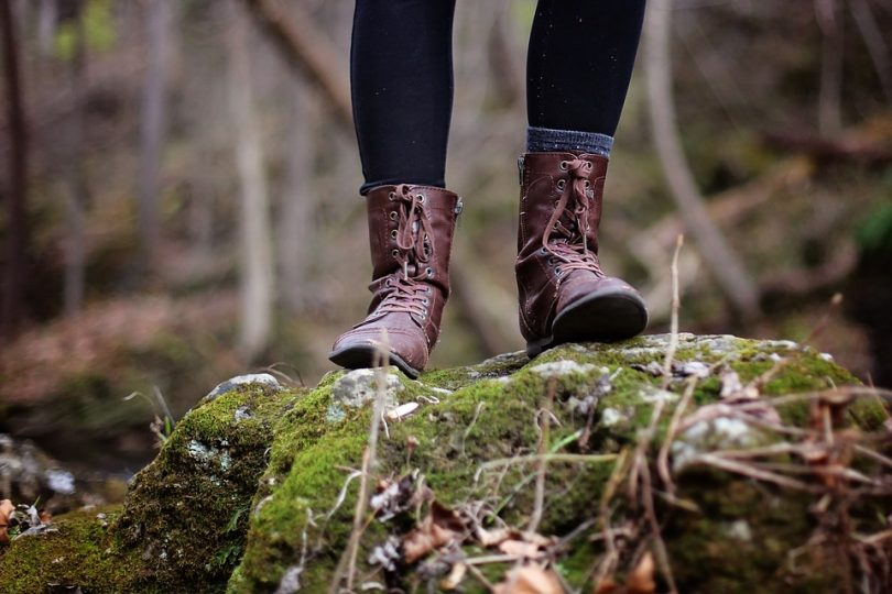 Feet in hiking boots