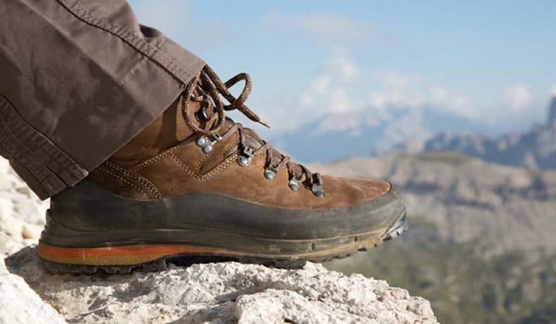 Hiking boots mountain background