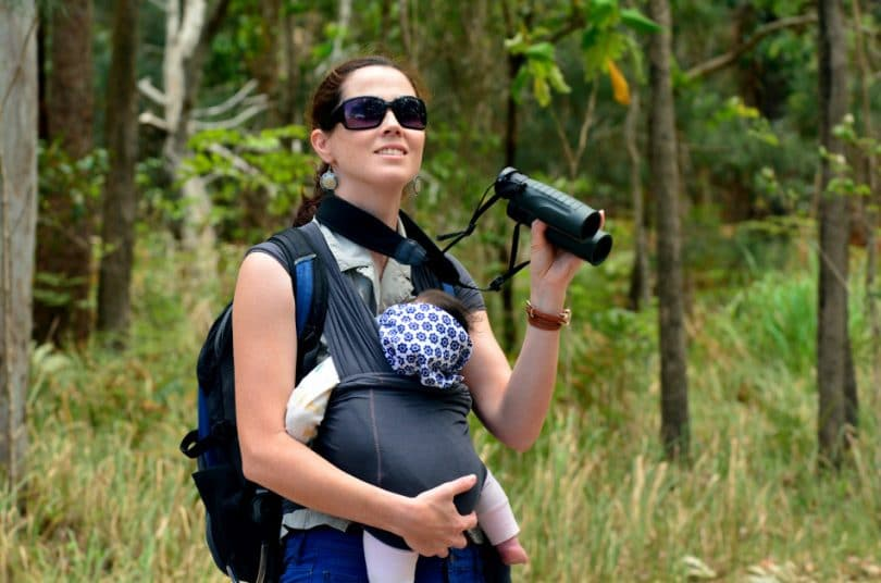 Mother hike with her infant baby