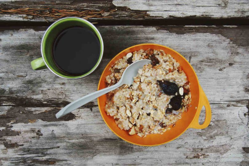 Outdoor oatmeal with coffee