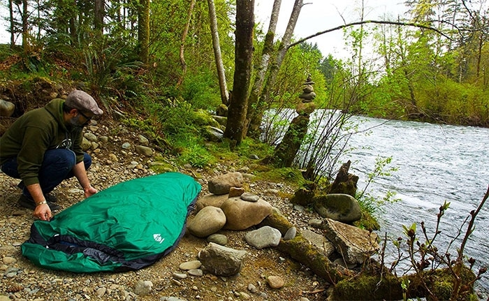 Preparing bivy sack for camping